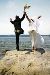 Leaping Bride and Groom